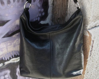 Handmade black leather bag Leather handbag Leather shoulder bag