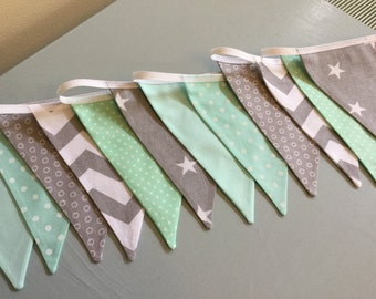 Handmade Bunting nursery Mint green grey star chevron spotty baby girl boy christening, afternoon tea, celebration, Birthday