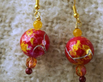 Earrings, Pink, Yellow, Red, Beaded earrings, Drop earrings, Dangle earrings,  bead dangle earrings