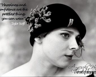 Navy bue velour felt hat,Fall/Winter hat,flapper hat,women's fur felt hat,honey colour and burgundy trim