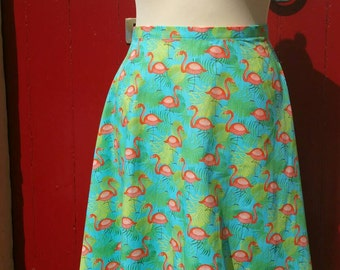 Flamingos cotton summer skirt, 1950s style skirt. Made to order in any size