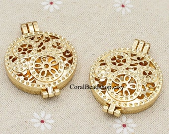 Picture Frame Locket -2pcs Filigree Gold Steampunk Gear Locket Pendant for Aroma Necklace Diffuser