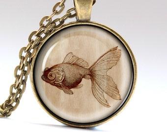 Golden Fish Necklace, Aquarium Jewelry, Wish Fish Pendant, Modern art Charm  LG1026
