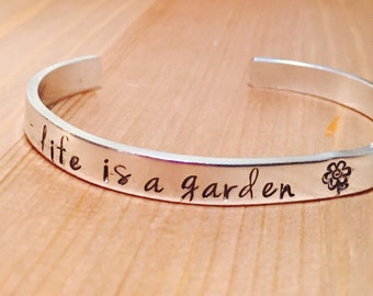 Life is a Garden Dig It Flower Adjustable Aluminum Cuff Bracelet