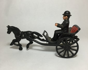Antique Cast Iron Horse Pulled Cart and Driver