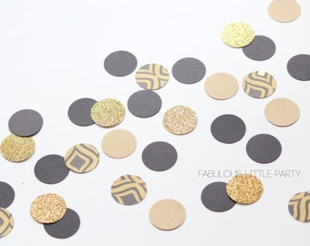 "The Great Gatsby Confetti Gold/Kraft/Black/Pattern Confetti 1"" Circle Confetti Bridal Shower/Birthday Decorations/Gatsby Wedding Confetti"