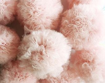 Pink Tulle Pom Poms - set of 4