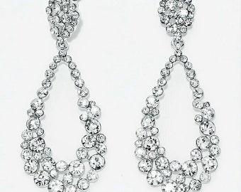 Crystal Hoop Earrings, Bridal Earrings