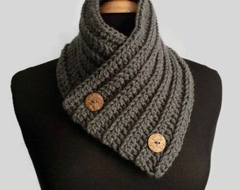 Mens Cowl Scarf with Buttons - Gray Button Neck Warmer Scarf - Button Knit Neck Warmer - Unisex Winter Accessories - Valentine's Day Gift