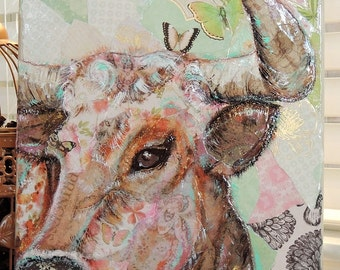 Princess- Cow Torn Paper Painting