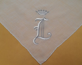 "Vintage Kerchief Crowned ""L""  Hand-Sewn Edges"