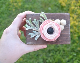 Ring Bearer Pillow Box with Felt Flowers, Boho Wedding, Vintage Wedding, Ring Bearer, Wedding Rings, Floral Boho Wedding, Square Ring Box