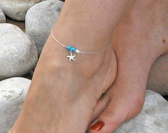 Starfish Anklet, Turquoise Ankle Bracelet, Sterling Silver, White Freshwater Pearl, Beach Anklet , Bridesmaid Jewelry, Gift Under 25