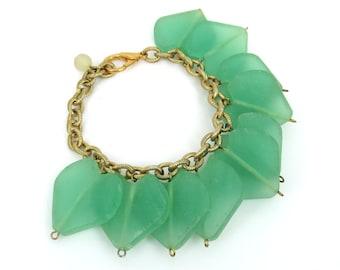 Hand Made Heart Emerald Green Color Bead Bracelet