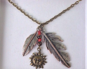 Sun charm tigers eye; feather necklace