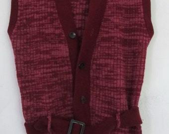 Marked Down 30%@@A Hip Vintage 70's,Maroon Colored Button Front Sweater Vest By CAMPUS.S