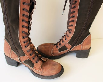 Tall Brown Lace up Riding Boots Leather textile Cowboy BootsLong Khaki Brown Leather Western Boots Knee High Size 38 (EUR)  7.5 (US )