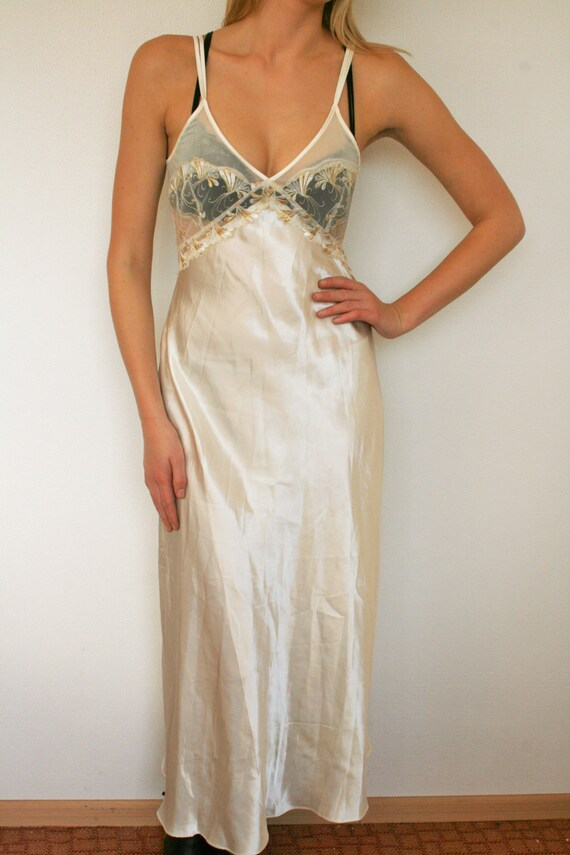 Long Silky Lace Nightgown Valentines Day Gift Night Dress