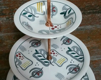 Vintage Wood & Sons Calypso Cake Stand, Ringwood Ware Made in England, 3 Tier Cake Stand,