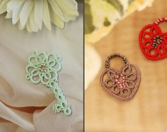 Lock and Key Pendant Set (Tatting Lace Patterns)