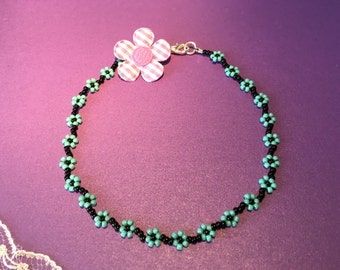 Anklet, Ankle Bracelet, Daisy Chain Anklet, Turquoise and Black Flower Anklet