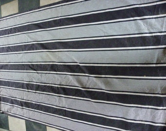 Very large piece of vintage french ticking or matress fabric in dark blue and white.