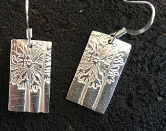 SIlver Dandelion earrings Bar Earrings Silver Earings Silver Bar Earings everyday earrings sterling silver earings earrings dangle