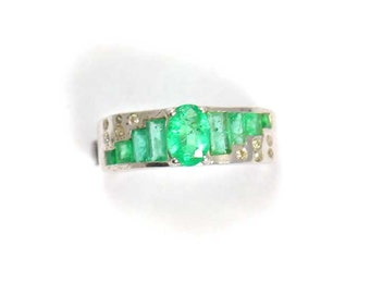 Emerald Diamond  925 Sterling Silver Ring Green Handmade Jewellery by AmoreIndia R498