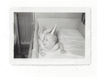 Baby in Crib with Pointed Hat, 1950s (est.)