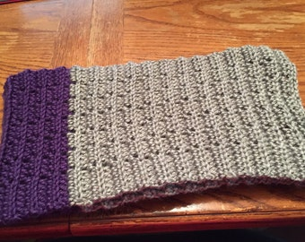 Purple & Gray Hand Crocheted Scarf