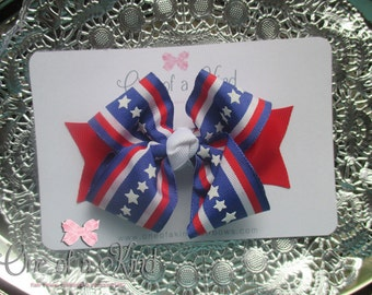4th of July Hair Bow - Independence Day Hair Bow - Patriotic Hair Bow - Red White Blue Hair Bow