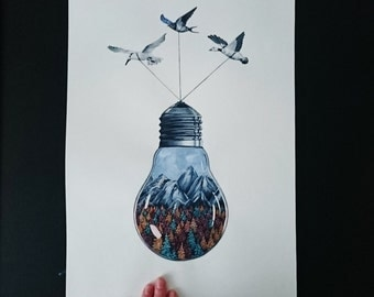 Original Watercolor Painting - Lightbulb and Birds
