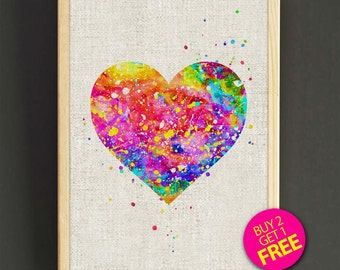Love art poster - Watercolor Painting Heart - FREE SHIPPING [414s2g]