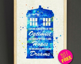 Dr Who Quotes Watercolor Print Doctor Who Tardis Poster Home Decor Wall Art Nursery Art Gift Watercolor Painting -Buy 2 Get FREE-431s2g