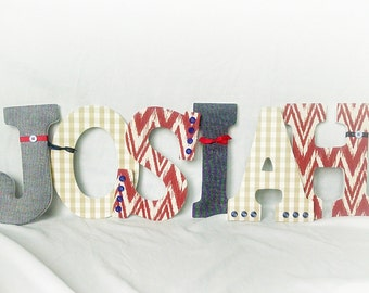 Boy wooden letters, hanging letters for boy, red and blue nursery, boy room decor, boy nursery decor, custom letters
