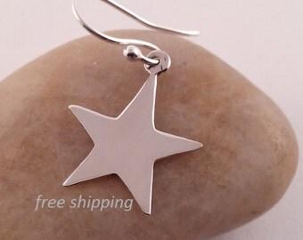 Silver star earrings;dangling;92.5