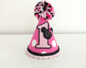 Minnie Mouse Birthday - Minnie Mouse party hat - mini party hat - pink Minnie mouse - Minnie Mouse Birthday Outfit