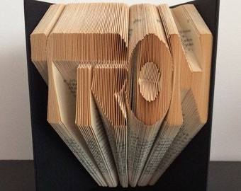 CLEARANCE - Folded Book Art Sculpture  TRON - Completed Book - Movie, Disney