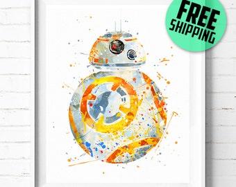 Star Wars BB-8 print, Star Wars print, BB8 poster, Star Wars poster, BB-8 wall art, Star Wars wall art, BB8 watercolor art, [346] home decor