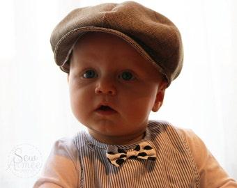 Newsboy cap, Drivers cap, flat cap, Golfers cap, Gatsby cap in Pepper colour. Birthday, Pageboy, christening, newborn photoshoot, cakesmash
