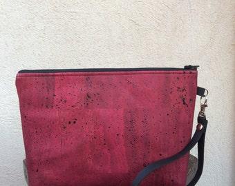 Cork clutch bag, burgundy clutch, wristlet clutch bag, pochette