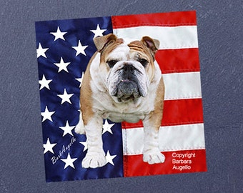 English Bulldog Coasters, English Bulldog Patriotic Coasters, English Bulldog Gift, English Bulldog Art, English Bulldog