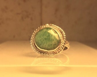 Handmade Gemstone Ring/Handmade Amazonite Ring/Free Shipping in the US.