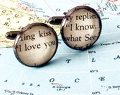 """Han & Leia quote cufflinks. """"I love you. I know."""" Great gift for guys and grooms. Star Wars Fandom gift"""