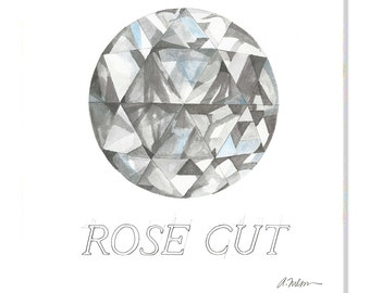 Rose Cut Diamond Watercolor Rendering printed on Canvas