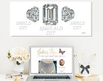 Three Stone Diamond Ring Watercolor Rendering printed on Canvas