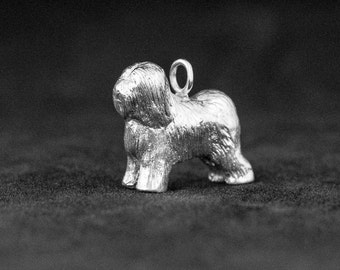 Sterling Silver Old English Sheepdog Charm, Silver English Sheepdog Pendant