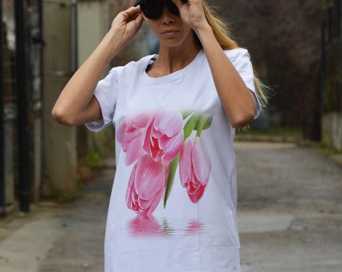 """Women's White Cotton T-shirts """" Tulip """", Fashion Print Tshirt, Oversize Tshirt, Extravagant Casual Top By SSDfashion"""