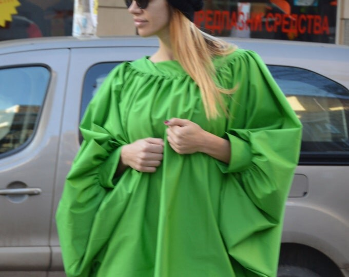 Asymmetric Loose Shirt, Soft Cotton Oversize Green Shirt, Extravagant Maxi Tunic Top Design By SSDfashion