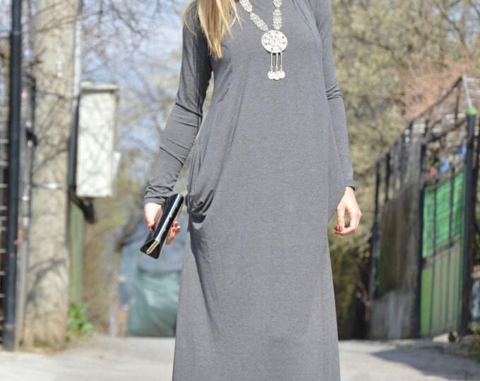Grey Oversize Long Dress, Plus Size Dress, Comfortable Maxi Dress, Extravagant Dress, New Summer Dress By SSDfashion